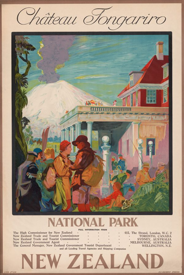 Chateau Tongariro - New Zealand - Vintage Travel Poster