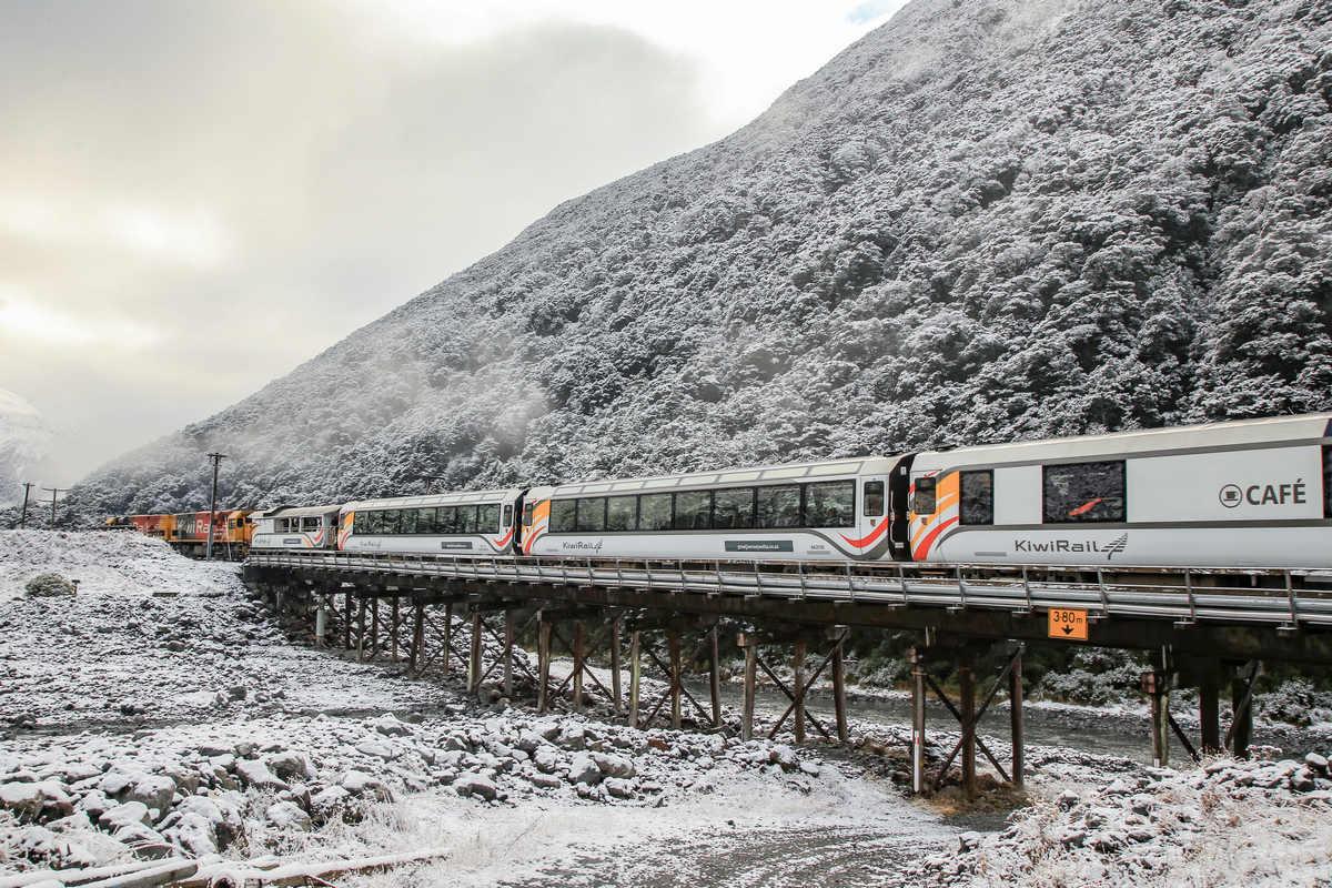 TranzAlpine Travelling through the snow